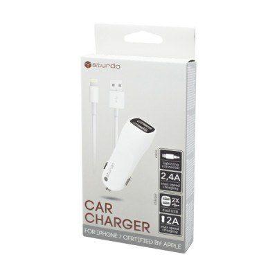 Duálna USB autonabíjačka Sturdo biela s káblom Lightning | Duntel